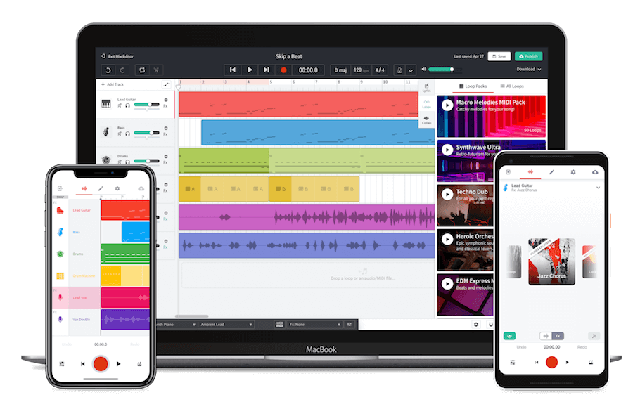 Image representing the BandLab experience across iOS, Android and Website in a laptop